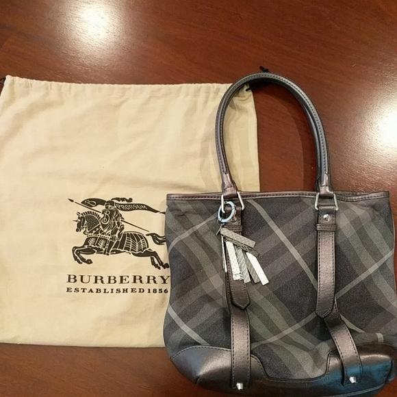 2af05745f2dd Burberry Handbags - Burberry gray metallic check tote bag